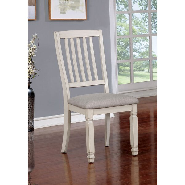 Safire Wood Fabric Padded Seat Solid Wood Dining Chair (Set of 2) by Highland Dunes