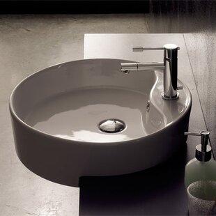 Read Reviews Geo Ceramic Circular Vessel Bathroom Sink with Overflow ByScarabeo by Nameeks