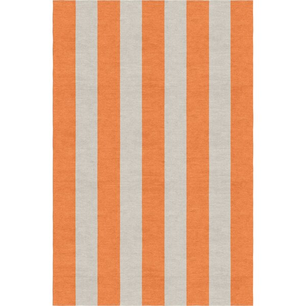 Burnell Hand-Woven Wool Orange/Silver Area Rug by Longshore Tides