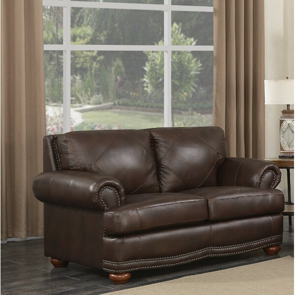 Search Sale Prices Bednarek Premium Leather Loveseat by Darby Home Co by Darby Home Co