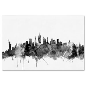 'New York City Skyline' Graphic Art on Wrapped Canvas by Ivy Bronx