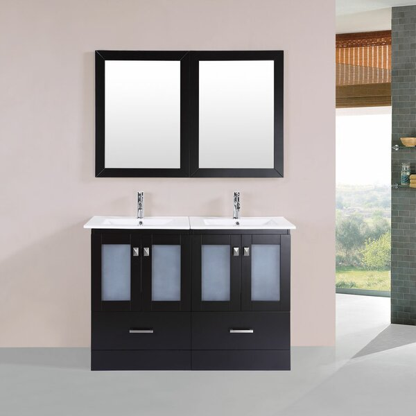 Lapoint Modern 48 Double Bathroom Vanity Set with Mirror by Latitude Run
