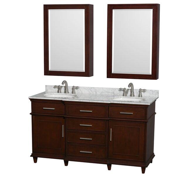 Berkeley 60 Double Dark Chestnut Bathroom Vanity Set with Medicine Cabinet by Wyndham Collection