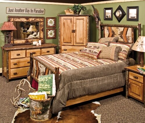 Hickory Adirondack Standard Bed by Fireside Lodge