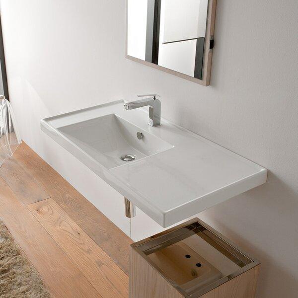 ML Ceramic Rectangular Drop-In Bathroom Sink with Overflow by Scarabeo by Nameeks