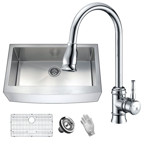 Elysian 36 x 21 Farmhouse Kitchen Sink with Faucet by ANZZI