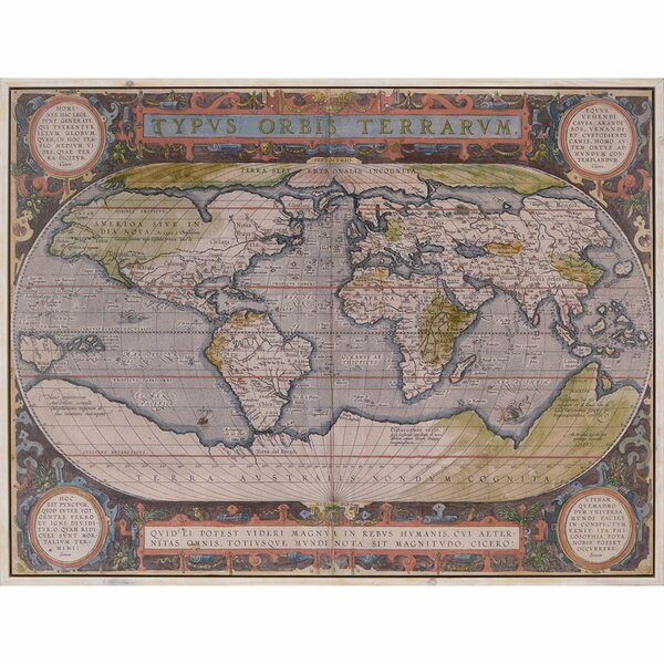 Antique World Map Framed Wall Art by Paragon