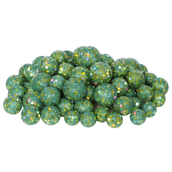 72 Piece Sequin and Glitter Christmas Ball Decoration Set by Vickerman