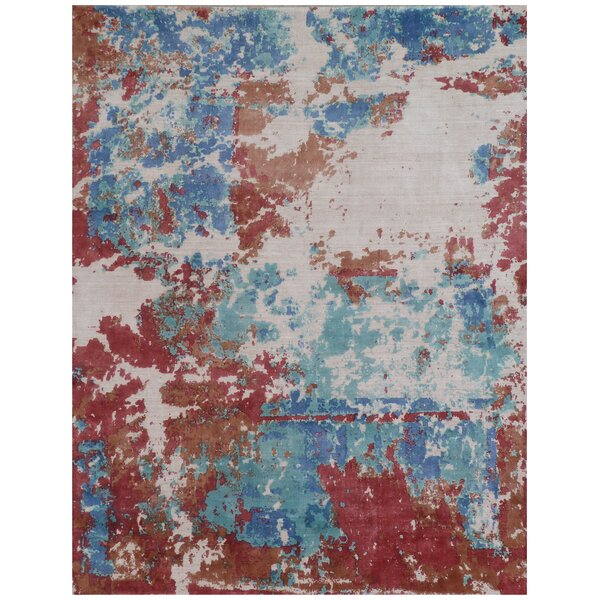 Antolini Hand-Woven Blue/Red/Ivory Area Rug by Exquisite Rugs