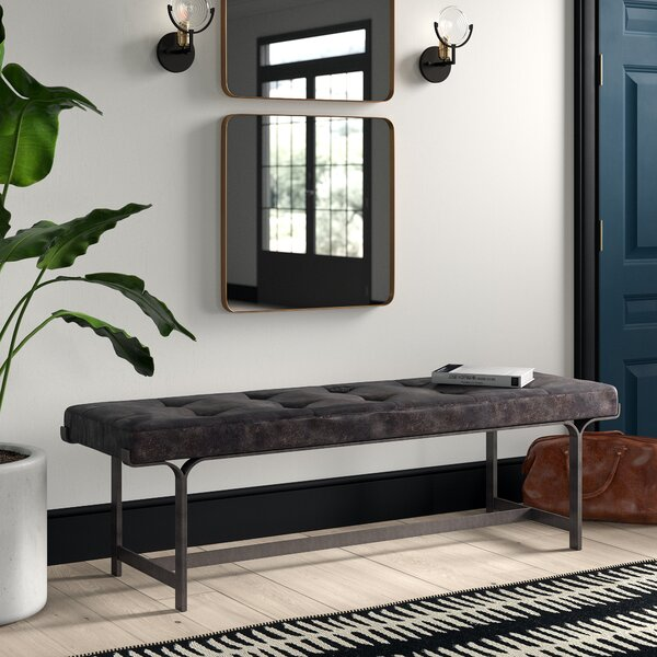 Stoehr Genuine Leather Bench by Mercury Row