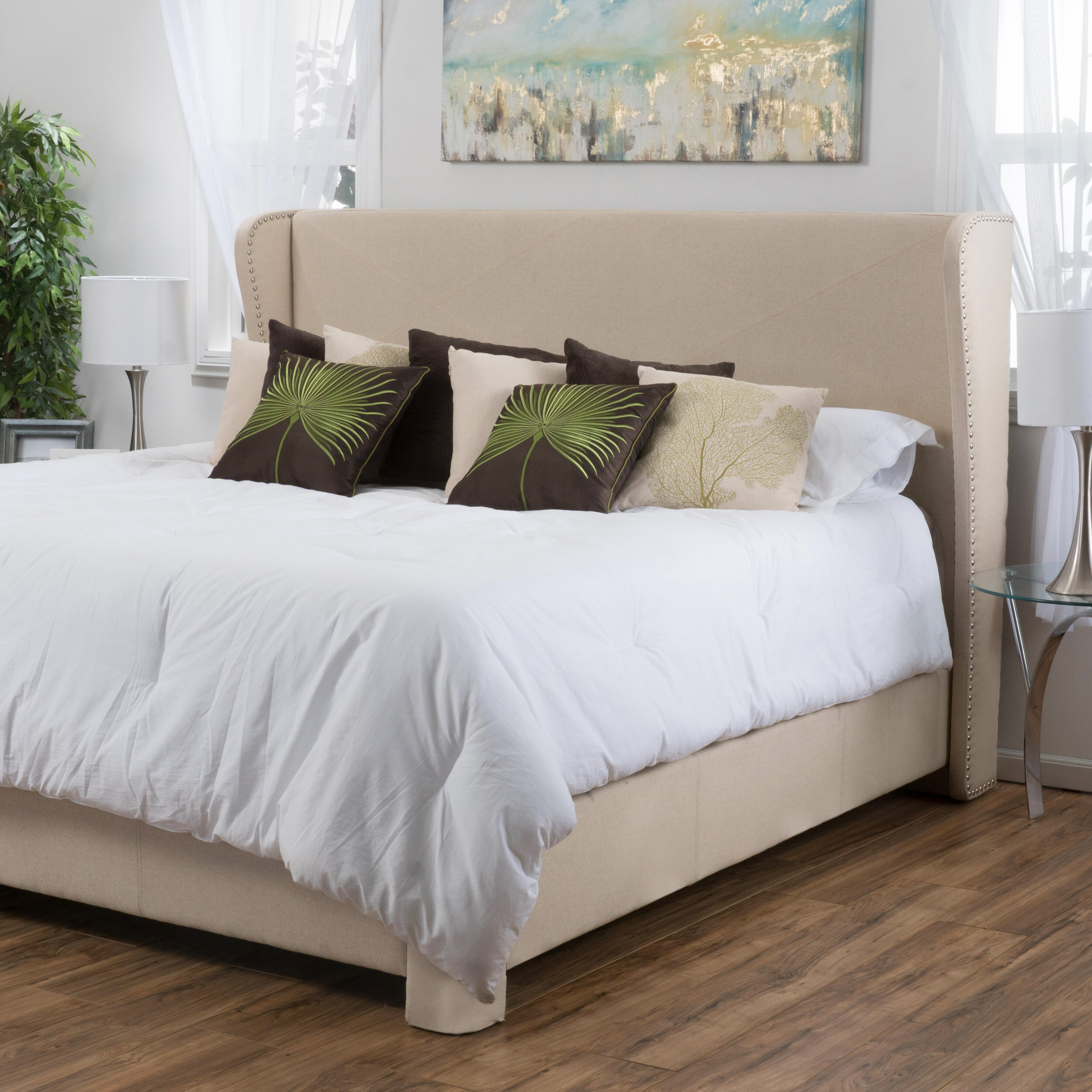 Alcott Hill Bellville King Upholstered Panel Bed U0026 Reviews | Wayfair