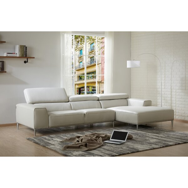 Yablonski Sofa & Chaise Leather Sectional By Orren Ellis