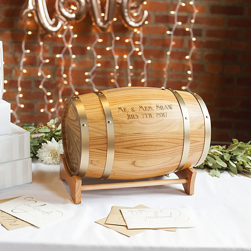 Cathys concepts personalized wine barrel reception gift card personalized wine barrel reception gift card holder negle Images