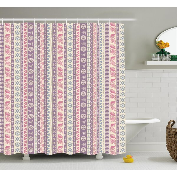 Cyrano Ancient Floral Leaves Shower Curtain by Bungalow Rose
