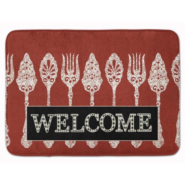 Welcome Serving Spoons Rectangle Microfiber Non-Slip Bath Rug