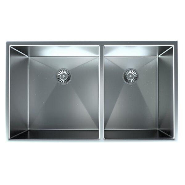 32 L x 19 W Double Basin Undermount Kitchen Sink with Basket Strainer