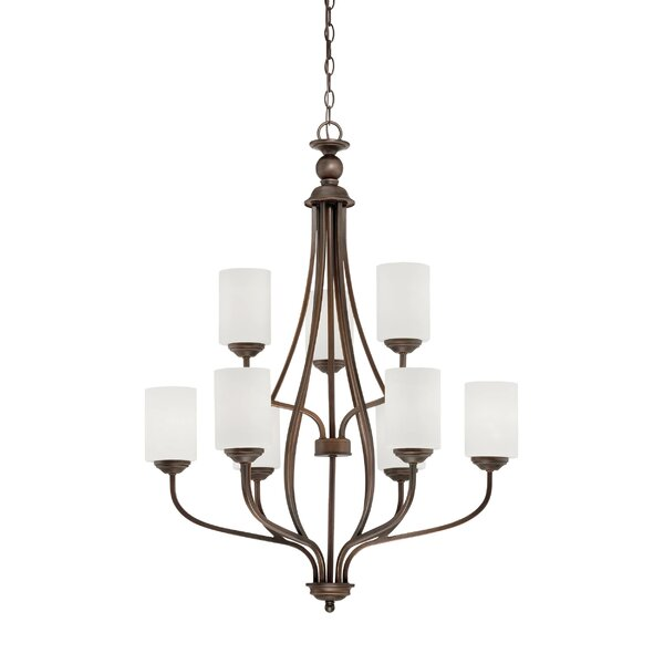 Thaxted 9 - Light Shaded Tiered Chandelier by Fleur De Lis Living Fleur De Lis Living