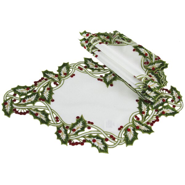 Holiday Holly Embroidered Cutwork Placemat (Set of 4) by The Holiday Aisle
