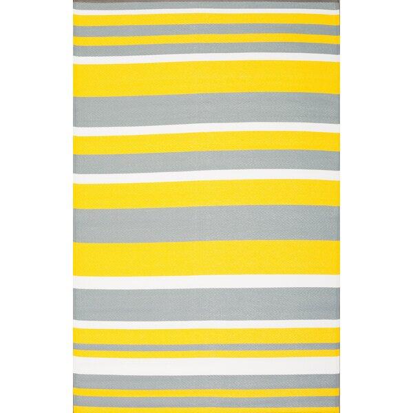 Carroll Stripes Yellow/Gray Indoor/Outdoor Area Rug by Ebern Designs