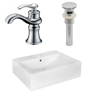 Shopping for Above Counter Ceramic Rectangular Vessel Bathroom Sink with Faucet and Overflow By Royal Purple Bath Kitchen