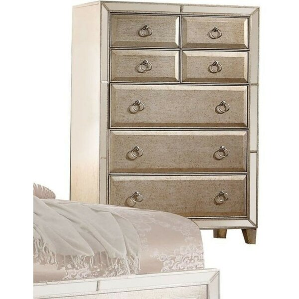 Hubbell Wooden 7 Drawer Chest with Mirror by Rosdorf Park