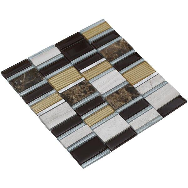 Tallia 12 x 12.5 Glass/Stone/Metal Mosaic Tile in Mahogany/Gold by Mirrella