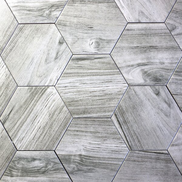 Artisan Wood Hexagon 8 x 8 Ceramic Wood Look Tile in Gray by Abolos