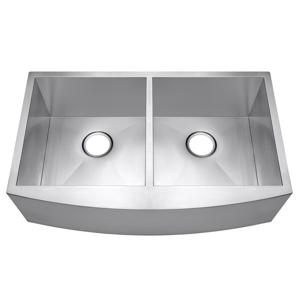 33 x 20 Apron Farmhouse Stainless Steel Double Bowl 50/50 Kitchen Sink by AKDY