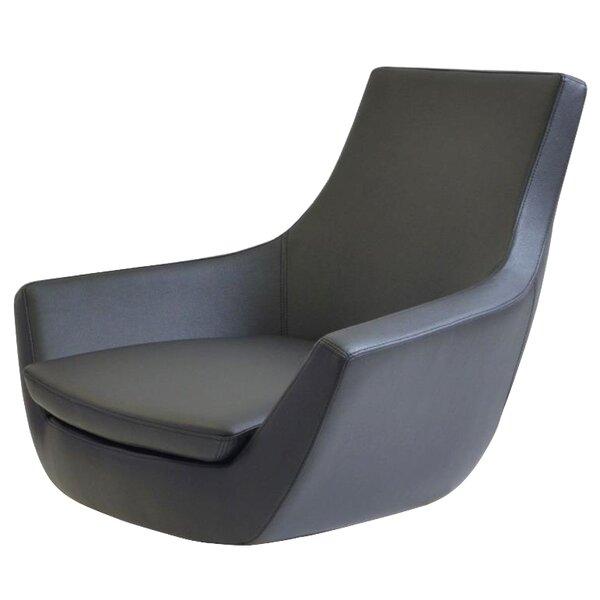 Creason Swivel Leather Lounge Chair by Orren Ellis