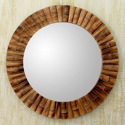 Hand-Crafted Bamboo Mosaic Wall Mirror by Novica