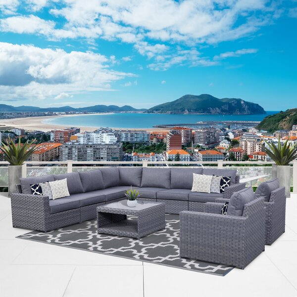 Palladino 10 Piece Sectional Seating Group with Cushions by Highland Dunes
