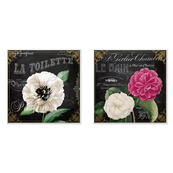 La Toilette Carnations Parisienne 2 Piece Graphic Wall Plaque Set by Stupell Industries