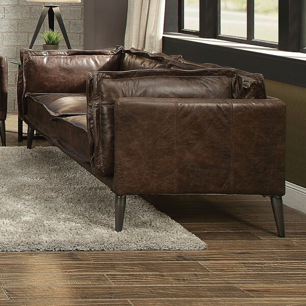 Modern Style Eilidh Leather Loveseat by 17 Stories by 17 Stories