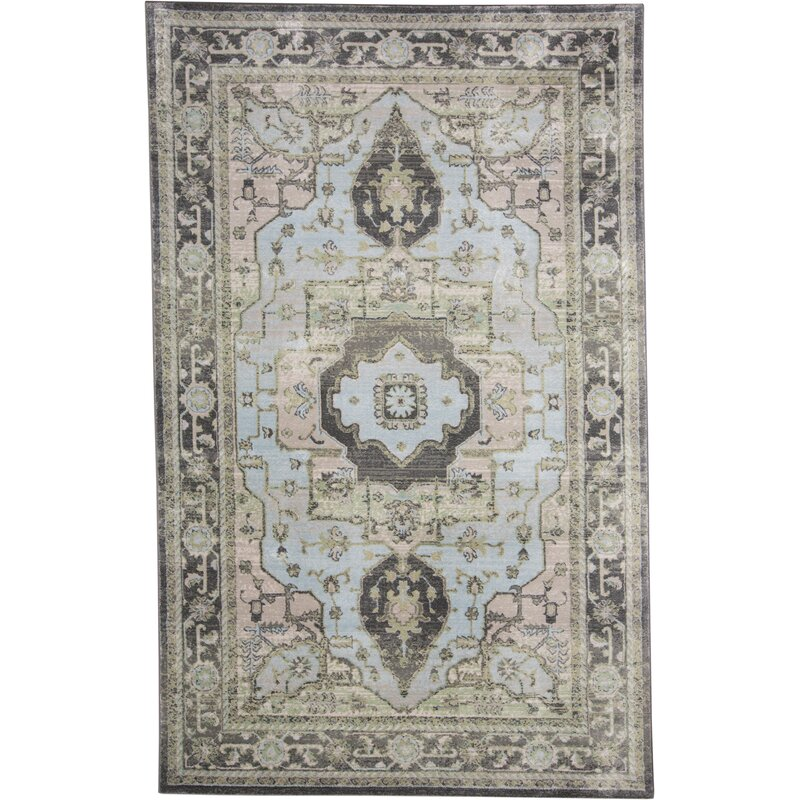 Taupe Castle Blue Green Area Rug