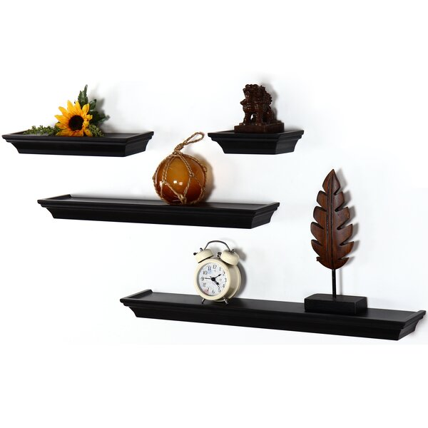 4 Piece Floating Wall Shelf Set by Adeco Trading