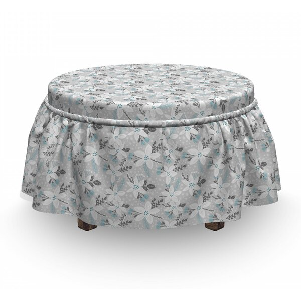 Flower Blossom With Dots Ottoman Slipcover (Set Of 2) By East Urban Home