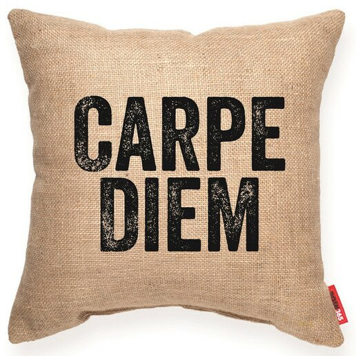 Expressive Carpe Diem Decorative Burlap Throw Pillow by Posh365