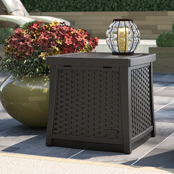 Outdoor End Table with Storage 13 Gallon Resin Plastic Deck Box by Suncast Suncast