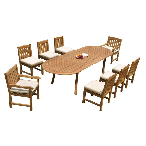Jeff 9 Piece Teak Dining Set by Rosecliff Heights