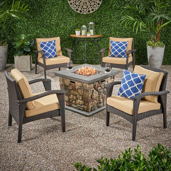 Tucker Outdoor 5 Piece Rattan Multiple Chair Seating Group With Cushions by Bayou Breeze