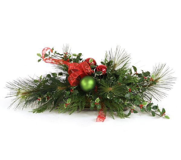 Artificial Holiday Centerpiece with Bow in Low Tray by Distinctive Designs