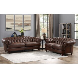 Basso 2 Piece Leather Living Room Set by Alcott Hill®