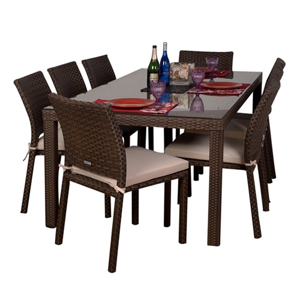 Monett 9 Piece Dining Set with Cushions by Beachcrest Home