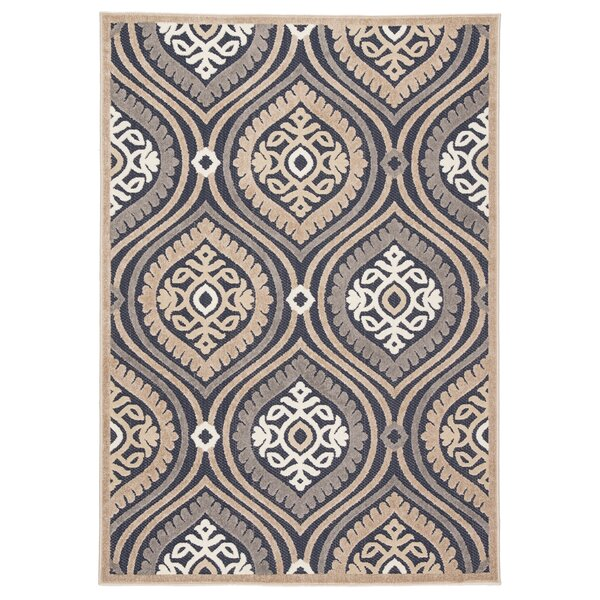 Newtown Medallion Navy/Beige Indoor/Outdoor Area Rug by Bungalow Rose