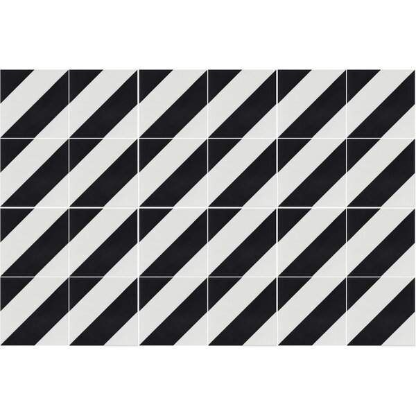 Diagonal Four A 8 x 8 Cement Field Tile in Black/White by Villa Lagoon Tile