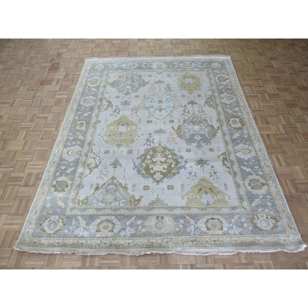 One-of-a-Kind Eladia Oushak Hand-Knotted Wool Beige Area Rug by World Menagerie