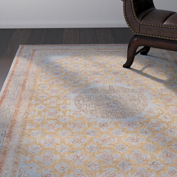 Holden Hand-Tufted Blue/Cinnamon Area Rug by World Menagerie