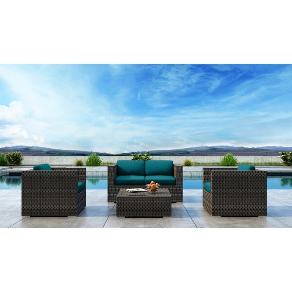 Gilleland 4 Piece Sofa Seating Group with Sunbrella Cushion
