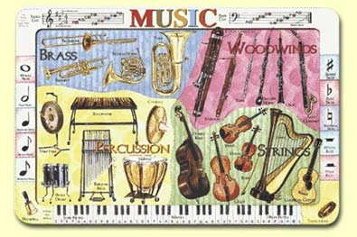 Musical Instruments Placemat (Set of 4) by Painless Learning Placemats
