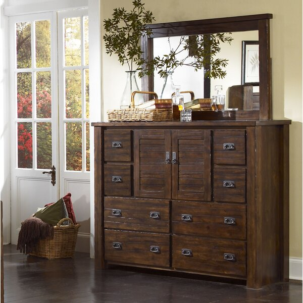 Worksop 8 Drawer Combo Dresser with Mirror by Loon Peak